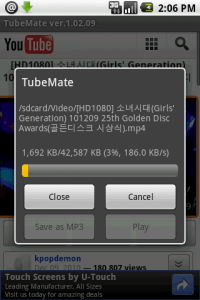 Tải ứng dụng TubeMate cho android