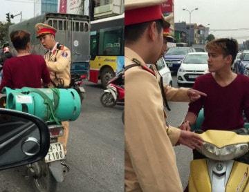 Thanh niên chở ga vi phạm giao thông