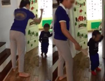 Cô giáo đánh các cháu nhỏ