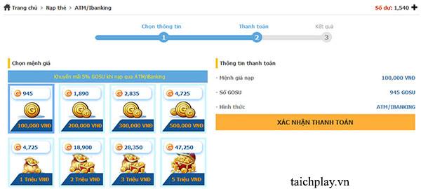 Nạp thẻ Nhất Kiếm Cửu Thiên qua ATM iBanking 01
