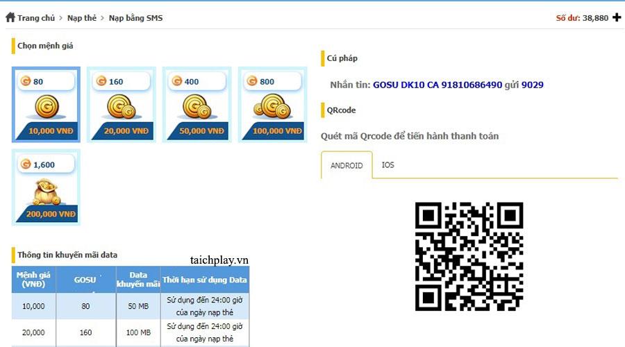 Nạp thẻ Nhất Kiếm Cửu Thiên qua tin nhắn SMS