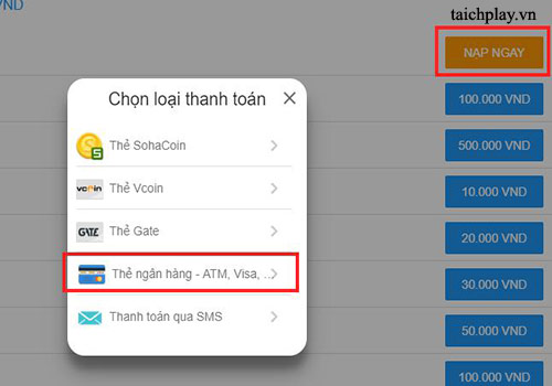 Các bước nạp thẻ Hiệp Nghĩa Giang Hồ qua ATM, Visa 01